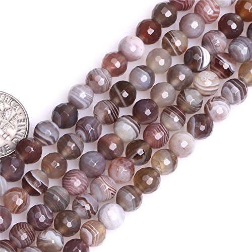 Botswana Agate Beads for Jewelry Making Natural Semi Precious Gemstone 6mm Round Faceted Strand 15