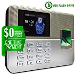 Timedox Silver, Biometric Fingerprint Time Clock for Employees, $0 Monthly Fees, Stand Alone One Time Payment for The Software, USA Support 2Yr Warranty, Dynamic Reports