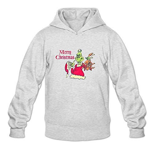 Dr. Seuss' How The Grinch Stole Christmas Hot 100% Cotton Ash Long Sleeve Hoodies For Guys Size S