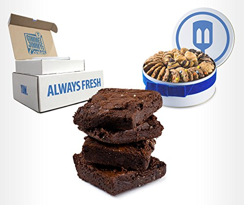 Spectacular Chocolate Chip - Gimmee Jimmy's Authentic Chocolate Brownies| Packaged in a Beautiful Gift Tin- Nut-Free| 2 Pounds