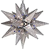 Moravian Star Light, Flower Pierced Tin, Silver with Marbles, 18''