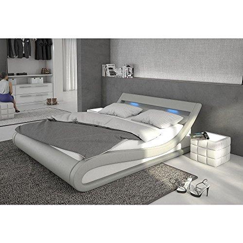 Polster-Bett 180x200 cm grau aus Kunstleder mit blauer LED-Beleuchtung   Bellugia   Das Kunst-Leder-Bett ist ein edles Designer-Bett   Doppel-Bett 180 cm x 200 cm mit Lattenrost in Leder-Optik