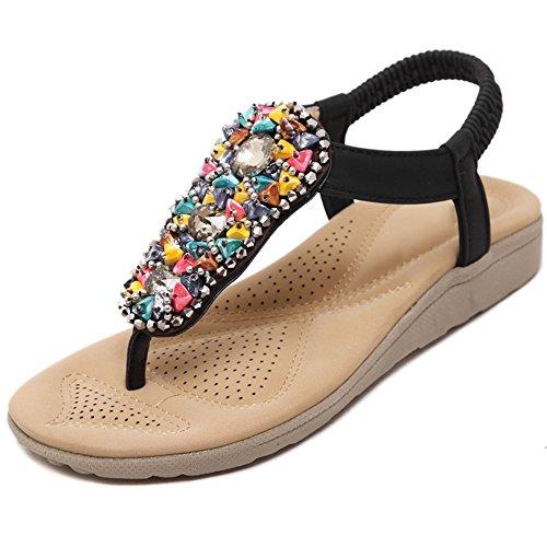 XIAOLIN サマーナショナルスタイルフラットボトムサンダルスリップ学生靴ラージサイズソフトサンダルビーチシューズ(オプションサイズ) (色 : 01, サイズ さいず : EU39/UK6.5/CN40)