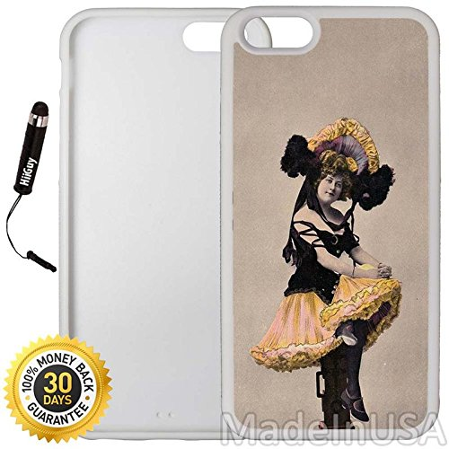 Custom iPhone 6 Plus/6S Plus Case (Victorian Bon Bon Girl) Edge-to-Edge Rubber White Cover with Shock and Scratch Protection | Lightweight, Ultra-Slim | Includes Stylus Pen by INNOSUB