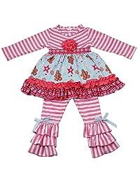 Qliyang Boutique Outfits Little Girls 2PCS Long Sleeve Ruffle Dress Clothing Set