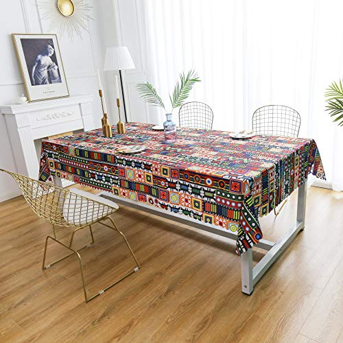 (iLiveX Table Cloth, Original Design Hand Drawing Art Printed Tablecloth, Water-Proof Rectangle Table Cover, Kitchen Dining Indoor Outdoor Buffet Tabletop Decoration, 60