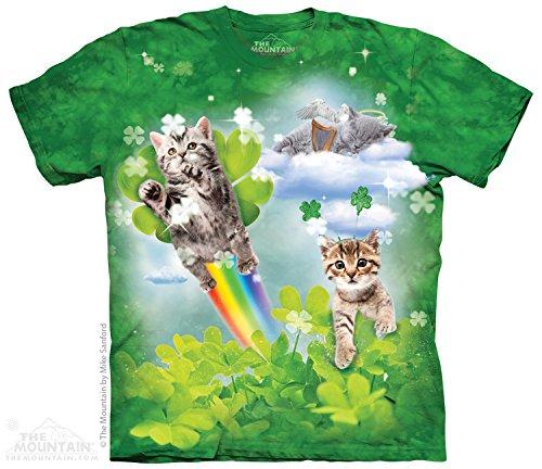 The Mountain Green Irish Fairy Kittens Adult T-Shirt, Green, Medium