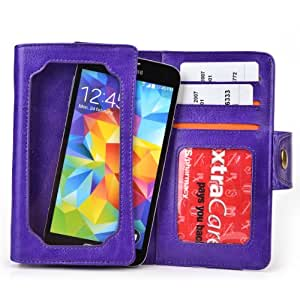 Purple Leather Phone Case with Credit Card Slots fits Samsung I8190 Galaxy S III mini