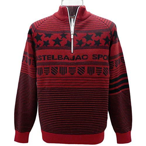 [カステルバジャック] 星×ボーダー総柄 ジップセーター (赤) (M) SW*022358012380 メンズ   B07P97TZ65