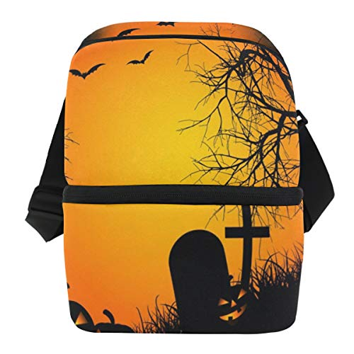 Lovexue Lunch Bag Great Halloween Cemetery Reusable Cooler Bag Mens Leakproof Thermos Organizer Zipper Tote Bags for Grocery ()