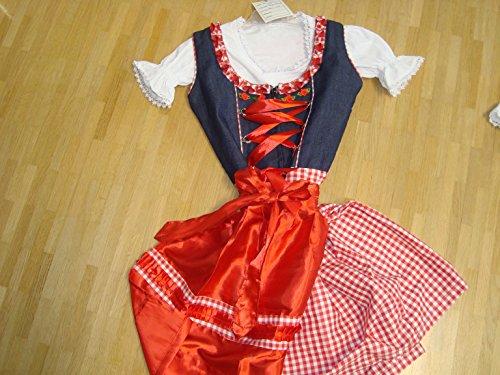 Dirndl Kinder Dress Denim Jean & Check , Ethnic 3 Piece Oktoberfest Bavarian Trachten. Austrian, German Folk Outfit - Halloween Costume With Apron and (German Outfit For Oktoberfest)