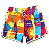 Passion-EYE Womens / Girls Floral Printed Swim Shorts - Bohemia Beach Surf Boardshort (S, Orange)
