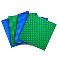 """Creative QT Variety Pack Classic Baseplates (Set of 4 - 10"""" X 10"""") Compatible with All Major Brands of Building Bricks Including Lego - 2 Green and 2 Blue Baseplate"""