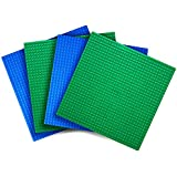 """Variety Pack Classic Baseplates (Set of 4 - 10"""" X 10"""") Compatible With All Major Brands of Building Blocks -- Green and Blue -- By Creative QT"""