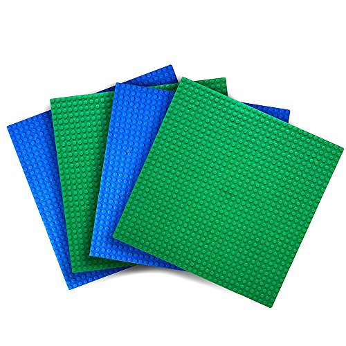 Variety Pack Baseplates (Set of 4 – 10″ X 10″) Compatible With Most Major Brands of Building Blocks — Green and Blue — By Creative QT