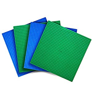 """Variety Pack Baseplates (Set of 4 - 10"""" X 10"""") Compatible With Most Major Brands of Building Blocks -- Green and Blue -- By Creative QT - 51YFOtnZ7iL - Creative QT Variety Pack Classic Baseplates (Set of 4 – 10″ X 10″) Compatible with All Major Brands of Building Blocks — Green and Blue"""