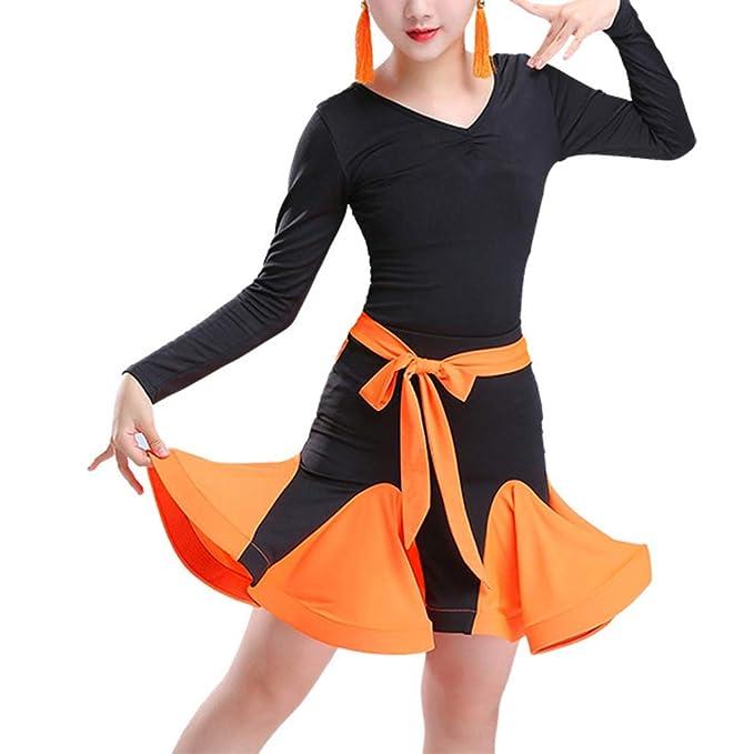 Vestido de Baile para Niña Manga Larga Cuello en V Vestido de ...