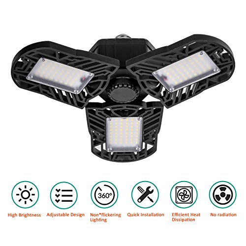 Led Garage Lights, ACVCY Led Garage Ceiling Lights 60W Garage Lighting 6000LM E26 Deformable led Garage Lights Bright Triple Glow Light Easy-to-Install for Workshop, Warehouse, Wine Cellar Etc.
