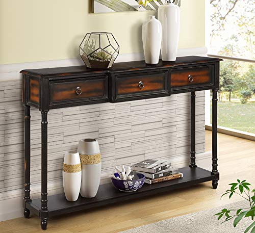 Console Table Sofa Table with Drawers Luxurious and Exquisite Design for Entryway with Projecting Drawers and Long Shelf (Expresso)