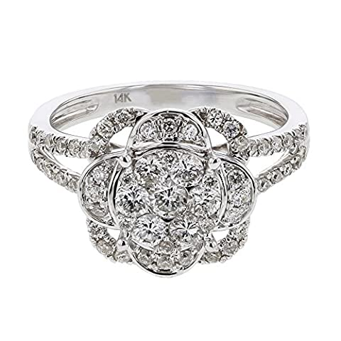 0.92CTW Ladies Round Cut Diamond Pave Set Cluster Ring in 14K White Gold (Kunzite Rings In White Gold)
