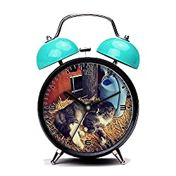 Blue Alarm Clock, Retro Portable Twin Bell Beside Alarm Clocks with Nightlight-041.Barn, Cat, Kitty, Hay, Cute, Animal, Feline, Pet,