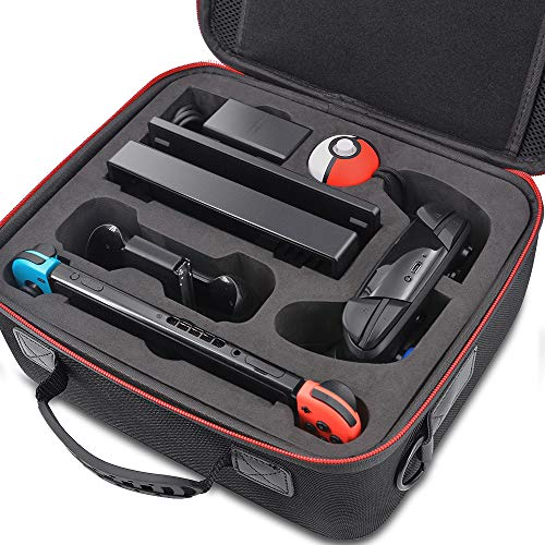 Carrying Case for Nintendo Switch, Hard Shell Storage Travel Cases with Anti-shock & Waterproof for Switch Console & Accessories, Black