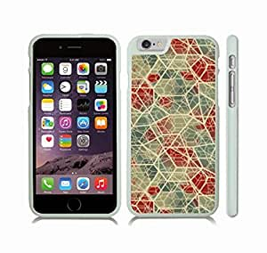 Case Cover For Apple Iphone 4/4S with Stained Glass Mosaic Pattern Design, Metallic Blue, Red and White Snap-on Cover, Hard Carrying Case (White)
