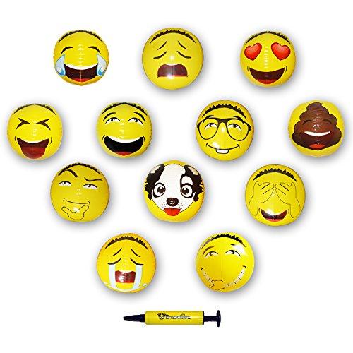 12  Asian Emoji Inflatable Water Beach Balls By Emochies  12 Pack Of 12 Unique Designs    Bonus Mini Air Pump   Ideal For Pool  Park  Festivals   Summer Parties