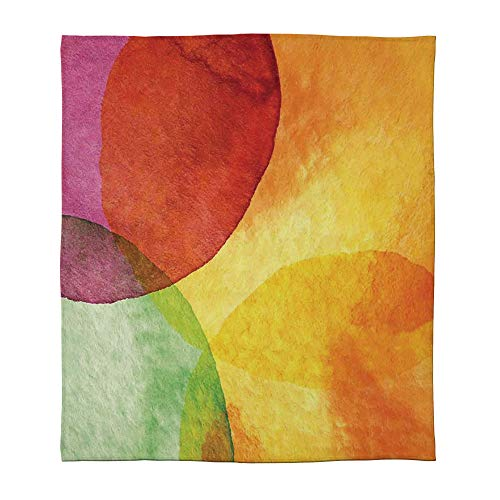 C COABALLA Warm Flannel Blanket,Abstract,for Folding Bed Crib, Stroller, Travel, Couch and Bed,Size Throw/Twin/Queen/King,Abstract Watercolor Painted Paper Style in Modern