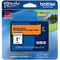 Genuine Brother TZe-B51 1 (24mm) Black on Bright Orange TZe P-touch Tape for Brother Electronic Label Makers
