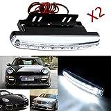 Ecosin® Fashion 2PC 8LED Daytime Driving Running Light DRL Car Fog Lamp Waterproof White DC 12V