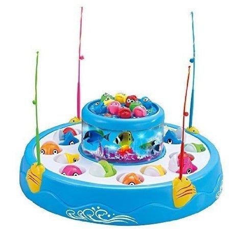 FocuSun enfant éducatif électrique rotatif magnétique pêche Playset jeu jouets poisson Double piscine avec la musique &, cadeau enfant, bleu clair