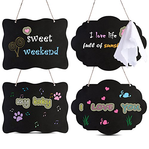 AUSTOR Chalkboard Sign 8x10 Inch Double Sided Erasable Message Board with Hanging Strings, 2 Shapes x 2, 4 Pack by AUSTOR