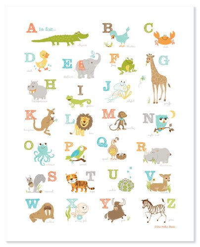 Sea Urchin Studio Alphabet ABC Wall Art for Kids, Animals, 16