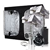 BloomGrow CMH 630W Grow Light Kit X2+120''x60''x80'' Grow Tent+8'' Inline Fan Carbon Air Filter Duct Combo for Hydroponic Indoor Plant Growing System (2xOpen Light+120''x60''x80''Tent+8''Fan Combo)