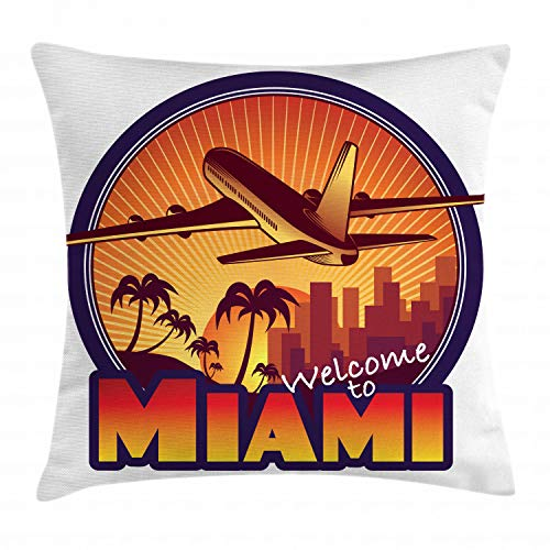 Ambesonne Florida Throw Pillow Cushion Cover, Welcome to Miami Airplane Palms and City at Sunset Graphic Circle, Decorative Square Accent Pillow Case, 16 X 16 Inches, Indigo Burnt Orange Brown]()