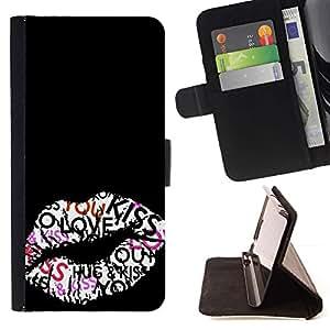 Momo Phone Case / Flip Funda de Cuero Case Cover - Beso Labios Hug miel Sexy Negro - HTC One M9