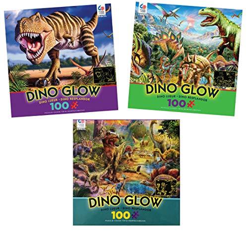 Ceaco 100 Piece Dinosaur Puzzle Set: 3 Glow In The Dark Dinosaur Puzzles - T-Rex, Stegasaurus and Other Dinosaurs ()