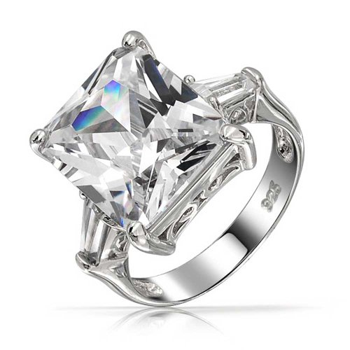 Art Deco Style 925 Sterling Silver 7CT Rectangle AAA CZ Princess Cut Statement Engagement Ring Baguette Side Stones ()
