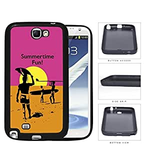 Summertime Fun Sunset Surfers Rubber Silicone TPU Cell Phone Case Samsung Galaxy Note 2 II N7100