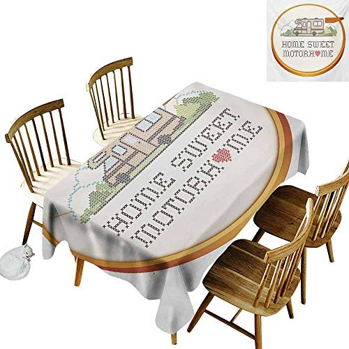 Polyester Tablecloth Home Sweet Home Embroidery Hoop Cross Stitch Needlework Sewing Design Trailer Home Print Soft and Smooth Surface W70 xL102 -