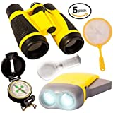Adventure Explorer Kit for Kids - Children Outdoor Exploration Gift Set for Fun Observation - Educational Toys to Observe Nature, Binoculars, Flashlight, Compass, Magnifying Glass, Bugs Catcher Net