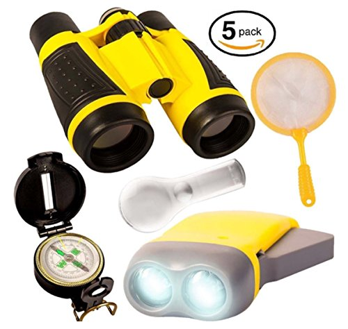 Outdoor Observation Explorer Kit For Kids - Children Exploration Gift Set For Fun Adventure - Educational Toys To Observe Nature, Binoculars, Flashlight, Compass, Magnifying Glass, Bugs Catcher Net ()