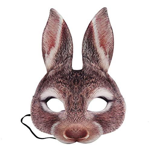 HomeMals Half Face Animal Mask Halloween Party Masquerade Half Face Animal Rabbit Mask Unisex Brown
