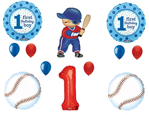 Rookie Of The Year Baseball 1st Birthday Party Balloons Decoration Supplies First