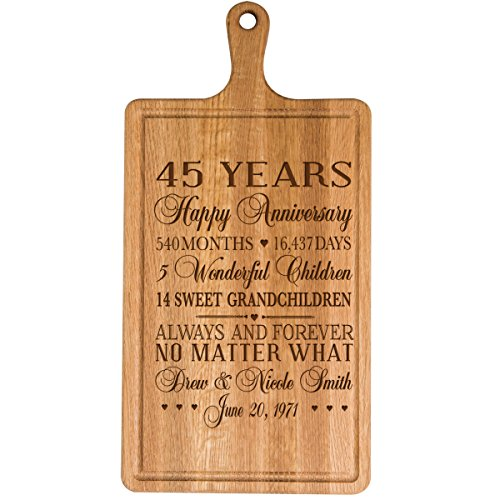 Personalized 45th Year Anniversary Gift for Him Her wife husband Couple Cheese Cutting Board Customized with Year Established dates to remember for Wedding Gift ideas by Dayspring Milestones