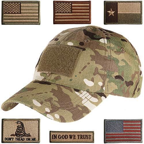 Lightbird Tactical Hat with 6 Pieces Tactical Military Patches, Adjustable Operator Hat, Durable Tactical OCP Flag Ball Cap Hat for Men Work, Gym, Hiking and More (Multicam 2)