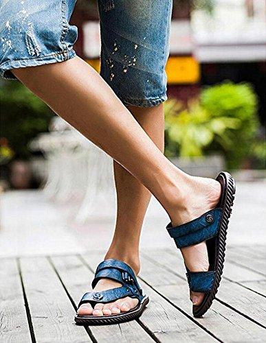 GLTER Hombres Flip Flops Verano Casual Breathable Playa Zapatos Sandalias Zapatillas Azul Marrón Caqui Blue