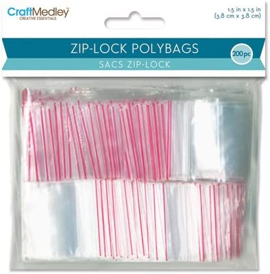 200 Per Package 1.5 by 1.5-Inch Multicraft Imports Zip-Lock Polybags