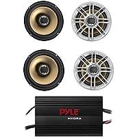 4) NEW Polk Audio DB651 6.5 180 Watt 2-Way Car Marine Speakers + 4 Channel Amp